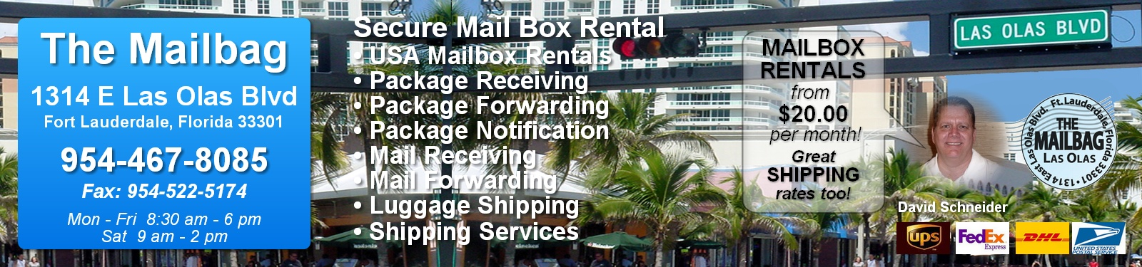 USA Mail Box Rentals - The Mailbag, USA - FedEx Shipping Services, UPS, DHL, USPS