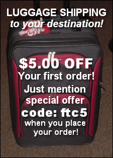 Luggage shipping to your destination!
